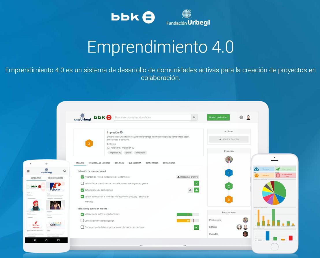 Emprendimiento 4.0, la plataforma pionera de impulso de proyectos empresariales, lanzada por la Fundación Urbegi y BBK Fundación Bancaria