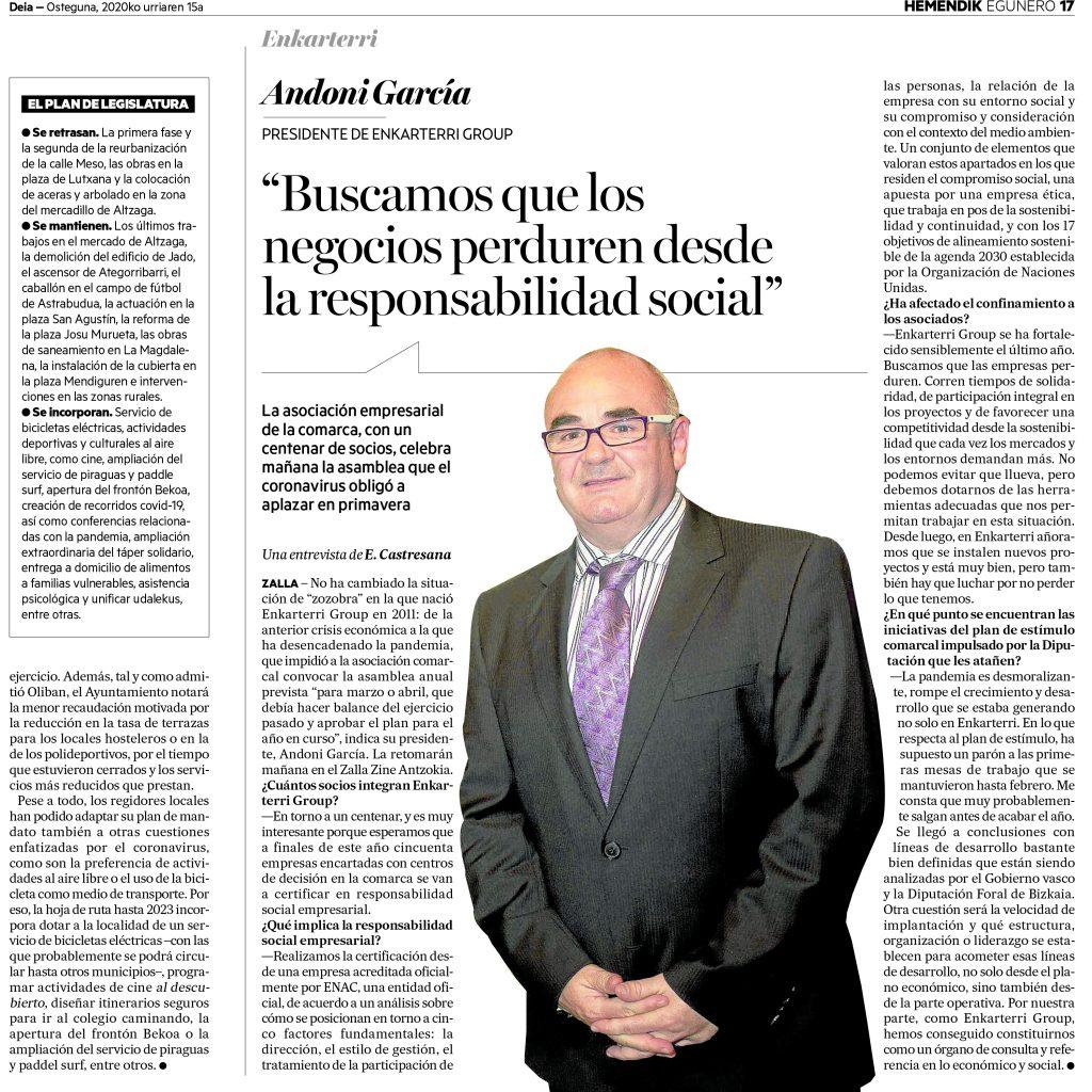 Entrevista de DEIA al Presidente Andoni García Larrucea, sobre la Asociación y la Implantación de la RSE en sus empresas